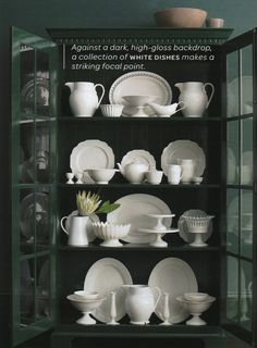 China Cabinet Display, I've got pieces from different grandmothers and dishes from Spain that I'd love to display. I love white dishes Decor, White Dinnerware, Perfect Paint Color, Dish Display, Cabinet, Home Decor, White Ceramics, China Cabinet Display, Dinnerware Display