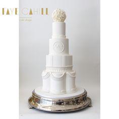 Beaded wedding cake by Faye Cahill Cake Design