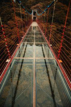 The glass bridge by Hanson Mao(毛延延) Places To Travel, Places To See, Glass Bridge, Glass Walkway, Scary Bridges, Love Bridge, Bridge Design, Pedestrian Bridge, Suspension Bridge