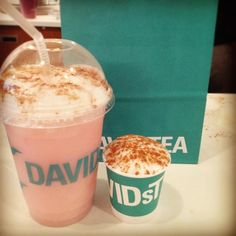 """(by you): """"A DAVIDsTEA Forever Nuts iced latte and Baby Latte. I love my store."""" - via Guidoboni Lupiano Davids Tea, Premium Tea, Iced Latte, Coffee Addiction, Best Tea, My Coffee, Drinking Tea, Bon Appetit, Tea Time"""
