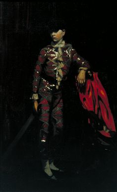 pintoras: Mabel Pryde (Scottish 1871 The Harlequin (c. (via Tate) # William Nicholson, Picasso Blue, Tate Gallery, Pierrot, Tate Britain, Classic Paintings, Dark Interiors, Art Uk, Dark Backgrounds