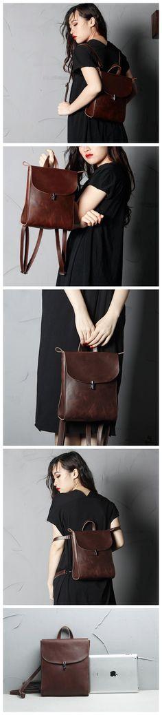 Full Grain Leather Backpack Women Backpack SCY08 from RockCow Leather Studio
