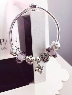 Tendance Bracelets  50% OFF!!! $199 Pandora Charm Bracelet White Purple. Hot Sale!!! SKU: CB01725