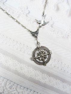 Silver Compass Necklace - Silver Guidance - Steampunk Jewelry by BirdzNbeez. Love Love.