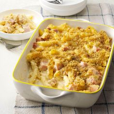 Ham & Swiss Baked Penne Recipe -As a kid I loved to the hot ham and Swiss sandwiches from a local fast-food restaurant. With its melty, gooey goodness, this bake makes me think of them. —Ally Billhorn, Wilton, IA Ham Casserole, Casserole Dishes, Casserole Recipes, Penne Recipes, Pork Recipes, Cooking Recipes, Recipies, Amish Recipes, Dutch Recipes