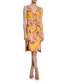 bf92d2a69b1 Chiara Boni Floral-Print V-Neck Sleeveless Dress with Overlay Skirt