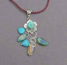 Turquoise Heart Garden Necklace Turquoise Nugget by IsleOfCraftin