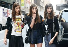 Kayley Chabot, Marine Deleeuw, and Manon Leloup photographed by Tommy Ton, New York