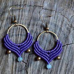 🎆Macrame hoop earrings with amazonite beads 🎆 Available at Etsy shop (see link in bio) #macrame #macramejewelry #macrameearrings #earringhoops #earrings #purple #amazonite #beads #brass #handmadeingreece #handmade #etsy #etsyshop #boho #bohojewelry #bohemianjewelry #bohemian #indigomacrame