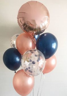 Rose Gold Confetti Balloons Rose Gold Navy Latex Balloons Rose Gold Bridal Shower Rose Gold Navy Wedding Rose Gold Balloons Bachelorette - the Best of Everything Fete Emma, Shower Rose, Gold Confetti Balloons, Bridal Shower Decorations, Bridal Shower Colors, Navy Bridal Shower, Bridal Shower Balloons, Gender Reveal Party Decorations, Rose Gold Party Decorations