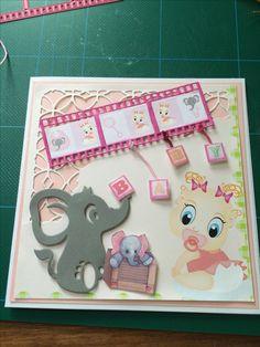 Kort / Card Elefant / Elephant Pige / Girl Filmrulle / Film Roll Baby Hjemmelavet/ Homemade