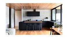 contemporary kitchen with concrete, wood and black. Planned Living Architects, Photo by Derek Swalwell Timber Kitchen, New Kitchen, Kitchen Reno, Mexican Style Kitchens, Timber Ceiling, Interior Architecture, Interior Design, Modern Master Bathroom, The Design Files