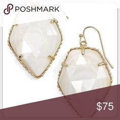 "Kendra Scott Corley Drop Earrings In White Pearl Brand NWT!!  The Corley earrings return in classic white pearl, forming a look to master that timeless beauty you've been searching for. PRODUCT DETAILS • 14K Gold Plated Over Brass • Size: 1.31""L x 1""W on earwire • Material: white mother-of-pearl Please note: Due to the one-of-a-kind nature of the medium, exact color patterns may vary slightly from the image shown. Kendra Scott Jewelry Earrings"