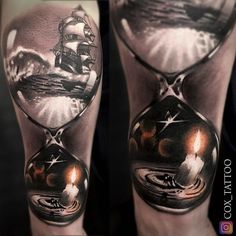 Hourglass With Ship & Candle | Best tattoo design ideas