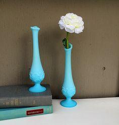 Blue Milk Glass FENTON Vases | Pair of Blue Satin Water Lily Bud Vases | Collectible Vintage Milk Glass | Blue Wedding Vases | Wedding Décor by GodSaveStrawberryJam on Etsy https://www.etsy.com/listing/196969142/blue-milk-glass-fenton-vases-o-pair-of