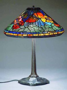"16"" Poppy Tiffany Lamp & Small Stick bronze base"
