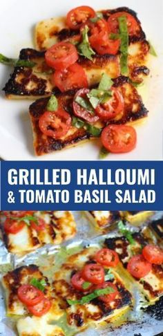 Grilled Halloumi Cheese & Tomato Salad is insanely delicious, outrageously mouthwatering, and will be your new favorite food! Grilled Halloumi has a strong savory and salty flavor that is slightly creamy and incredibly addictive. Paired with my simple T Vegetarian Grilling, Grilling Recipes, Vegetarian Recipes, Healthy Recipes, Hallumi Recipes, Healthy Grilling, Barbecue Recipes, Barbecue Sauce, Kitchens
