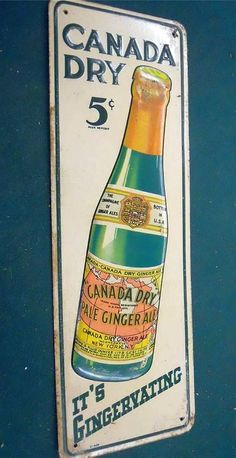 """Canada Dry Antique Door Push (Old 1930 Vintage Soda Pop Beverage Advertising Embossed Tin Litho Push/Pull Sign, """"It's Gingervating"""")"""
