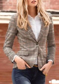 Vintage Turn-Down Collar Long Sleeve Gingham Patch Designs Women's Jacket Jackets | RoseGal.com Mobile