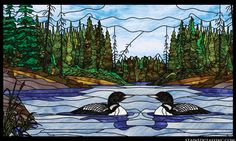 """Loon Lake"" Stained Glass Window"