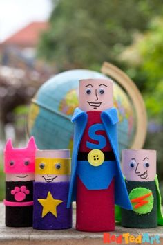 Toilet Paper Roll Superheroes - Red Ted Art - Make crafting with kids easy & fun Easy Yarn Crafts, Easy Crafts For Kids, Toddler Crafts, Preschool Activities, Feelings Activities, Summer Activities, Toilet Roll Craft, Toilet Paper Roll Crafts, Paper Crafts