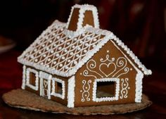 swedish gingerbread house plain white glaze decoration