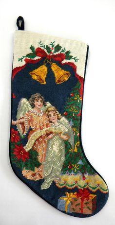 """Jabara Needlepoint Petit Point Christmas Stocking 2 Angels 18"""""""