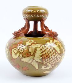 C.H Brannam 1894 Double Gourd Arts and Crafts Pottery Vase Dolphin Supports