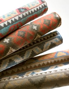 Lee Jofa Introduces Workroom Upholstered Furniture and Malika Fabric Collection Southwestern Fabric, Southwestern Decorating, Southwest Decor, Southwest Style, Santa Fe Style, Textiles, Aztec Rug, Upholstered Furniture, Modern Bohemian