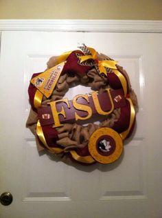 Seminoles Fsu burlap wreath,Fsu Football wreath,Colligate wreaths,Noles wreath,Burlap Noles wreath,Burlap FSU Wreath,FSU football wreath by ElsiesCreativeDesign on Etsy https://www.etsy.com/listing/213323661/seminoles-fsu-burlap-wreathfsu-football