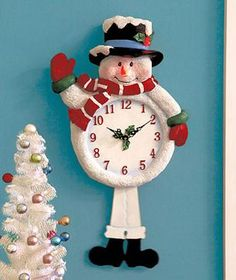 Light & Sound Snowman Clock guarantees a merry, musical holiday season. Every hour, his hat and carrot nose light up as he plays one of 12 holiday songs. The snowman is decked out in winter garb, and there are holly a Christmas Clock, Christmas Tunes, Christmas Snowman, Christmas Holidays, Christmas Crafts, Christmas Ornaments, Merry Christmas, Biscuit, Ceramic Light