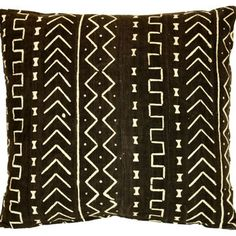 African Black Mud Cloth     Pillow