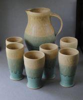 Pitcher and Tumbler Set - John McCoy Pottery Shop, Hull Pottery, Pottery Shop, Mccoy Pottery, Pottery Mugs, Ceramic Pottery, Ceramic Pitcher, Ceramic Mugs, Stoneware, Iced Tea Pitcher