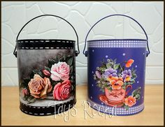 Latas recicladas com decoupage e pintura #can #recycling #decoupage #crafts