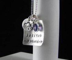 """Sterling Silver Pendant Charms SQUARE Disc 3/4"""" Hand Stamped INITIAL Love Mommy Mom Grandmother Family Kids Verse Names Necklace Crystals. $48.00, via Etsy."""