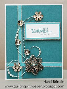 Quilting With Paper: Blinging It Up for Atlantic Coast Hearts #D1475CardChatter-Birthday #C1533FabulousYou #BaseAndBling