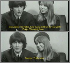 Pattie Boyd & George Harrison meet the press a few days after their wedding Liverpool, George Harrison, Beatles Meme, Beatles Quotes, Galileo Galileo, Funny Cat Photos, John Lennon Beatles, She Wolf, How Many Kids