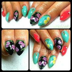 Hand painted vintage roses babyletto sculpted gel nails set ♥♥ Follow me on Instagram @hakyree_