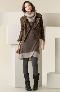 dress + tights + scarf + mid calf boots + leather jacket