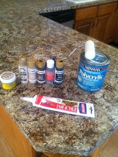 The Kitchen Countertop Post! Faux granite countertop diy with primer, craft store acrylic paint and some polyacrylic sealer.Faux granite countertop diy with primer, craft store acrylic paint and some polyacrylic sealer. Outdoor Kitchen Countertops, Diy Countertops, Countertop Makeover, Kitchen Countertop Redo, Painted Granite Countertops, Recycled Countertops, Hardwood Countertops, Countertop Covers, Kitchen Island