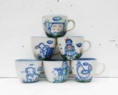 Vintage M.A. Hadley Pottery CUPS Folk Art Country Kitchen