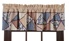 MILLIE+VALANCE+WINDOW+TREATMENT+16X72+LINED+RED+/+CREAM+/+BLUE+CRAZY+PATCHWORK+#vhcbrands+#CountryCottage