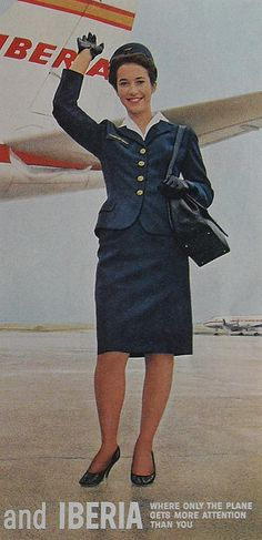 1960s Stewardess Flight Attendant Woman Uniform IBERIA AIRLINES vintage advertisement