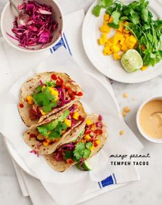 """Serve vegan """"fish"""" tofu tacos for a fun summer meal! Crunchy cabbage slaw & avocado cashew cream top lime-marinated tofu to make these tasty & healthy. Vegetarian Tacos, Vegetarian Recipes, Cooking Recipes, Healthy Recipes, Vegan Tacos, Kosher Recipes, Salad Recipes, Seitan, Best Taco Recipe Ever"""