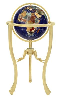 Lapis Gemstone Globe w/ Gold Dolphin Floor Stand