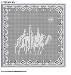 Crochet Borders 54 Wisemen Filet crochet doily pattern Christmas with border Filet Crochet Charts, Crochet Doily Patterns, Crochet Borders, Crochet Cross, Thread Crochet, Cross Stitch Charts, Crochet Designs, Crochet Doilies, Cross Stitches