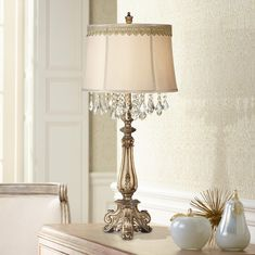 Dubois Console Table Lamp with Scallop Lace Trim is a quality Table Lamps for your home decor ideas. Large Table Lamps, Table Lamp Wood, Gold Table, Desk In Living Room, Living Room Bedroom, Bedroom Decor, Traditional Console Tables, Lace Trim, Antique Gold