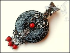 Obsidian and coral sterling silver pendant by amorfia on Etsy, $100.00