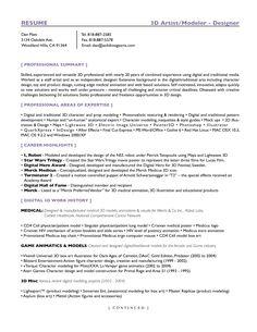 Entertainment/3D Artist-Page1   Entertainment Resumes   Pinterest ...