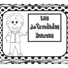 Posters for daily activities and activity pages for ABC order and rainbow writing all in Spanish and in black and white so the students can get inv...